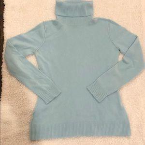 Aqua Light Blue Cashmere Turtleneck Sweater
